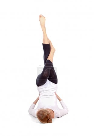 Gymnast girl in flexible back pose
