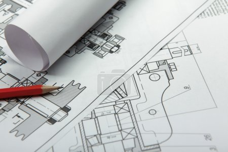 Photo for Part of architectural project and pencil - Royalty Free Image