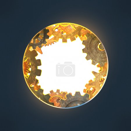 Round opening with gears made of rusty metal