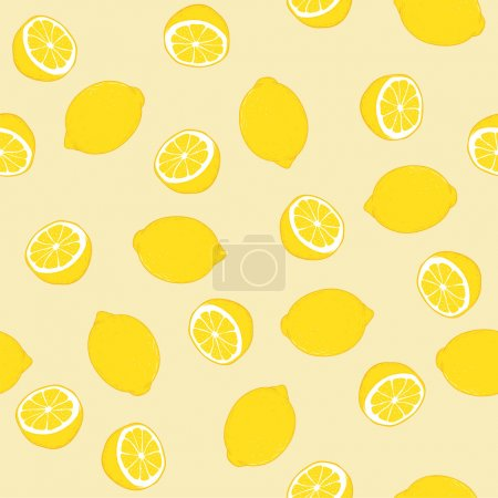 Illustration for Seamless background with a yellow lemon - Royalty Free Image