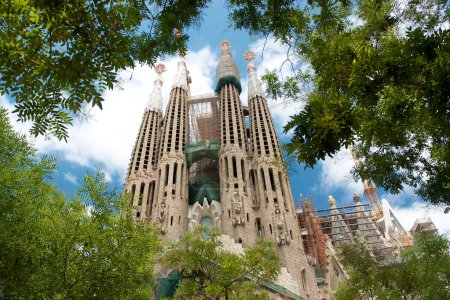 Sagrada Familia from green park and trees