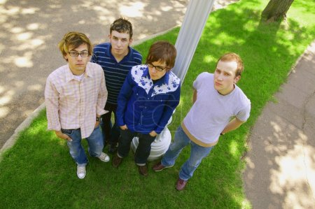 Four Young Men Hanging Out