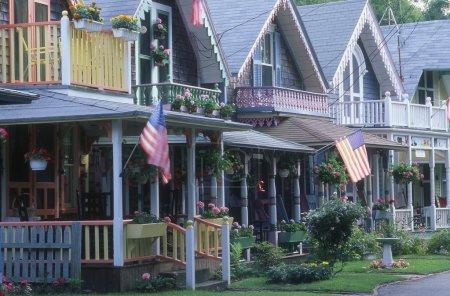 A Row Of Gingerbread Wooden Houses, Oak Bluffs, Martha's Vineyard, Massachusetts, U.S.A.