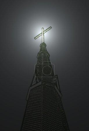 ein Kreuz auf einem Kirchturm