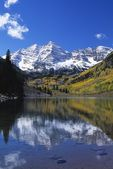 Maroon Bells Peaks And Fall Aspens Reflected In Maroon Lake, Maroon Bells-Snowmass Wilderness