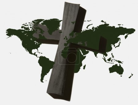 World Map With Cross