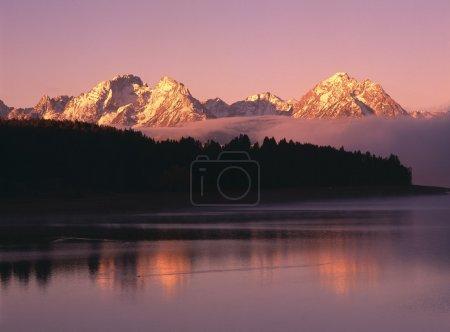 Photo pour Montagnes de grand teton avec silhouette tremble au lever du soleil avec des reflets dans le lac jackson, parc national de grand teton - image libre de droit