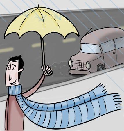 Photo pour Homme marchant sous la pluie - image libre de droit
