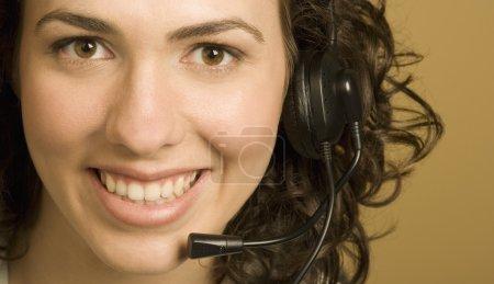 Photo pour Femme avec casque - image libre de droit