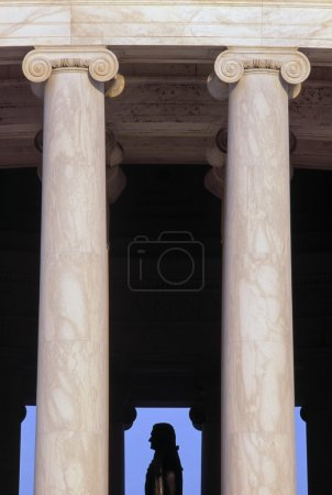 Columns With The Silhouette Of The Jefferson Statue