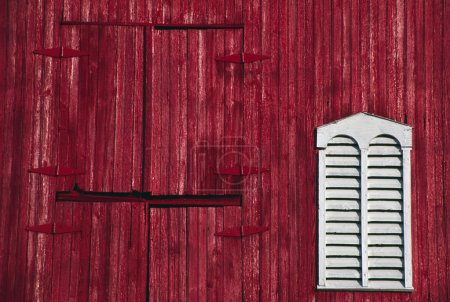 Red Barn Door And White Louvered Window