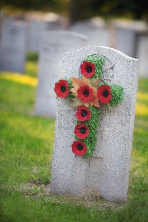 Grave Stone With Poppy Wreath