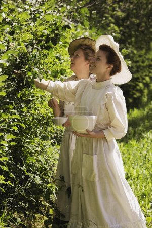 Women Picking Berries In Old-Fashioned Clothing