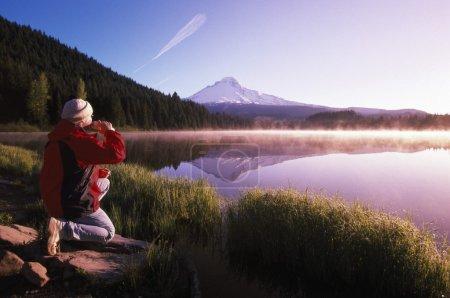 Man At Mount Hood In Oregon...