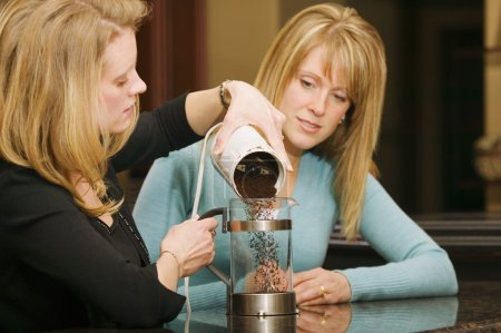Woman Making Coffee In A French Press...