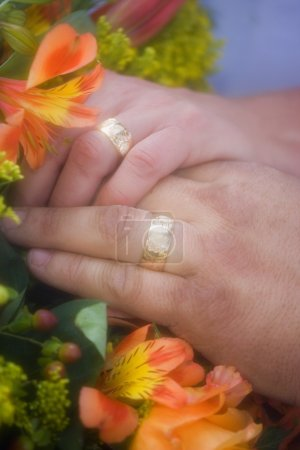 Closeup Of Rings On Bride And Grooms Fingers