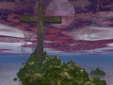Photo pour Paysage marin généré par ordinateur avec croix - image libre de droit