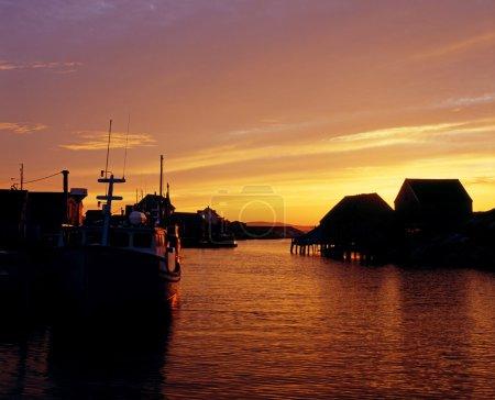 Sunset On Fishing Harbor