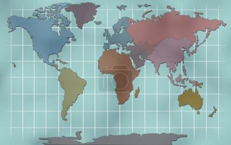 Photo pour Illustration de carte monde - image libre de droit