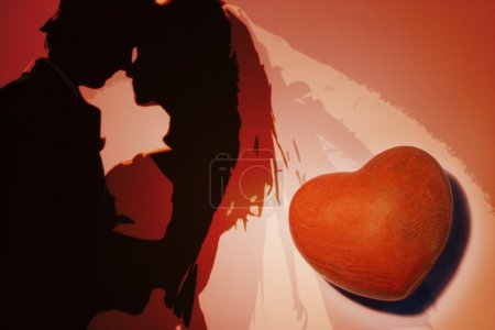 Photo for Illustrated Couple With Heart - Royalty Free Image