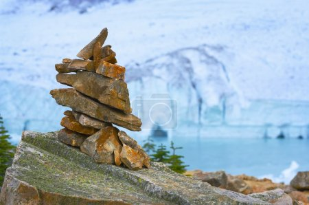 Photo for Cairn In Front Of Glacier, Ice Cave And Mountain - Royalty Free Image