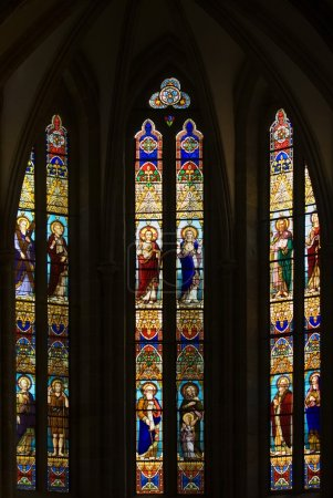 Gothic Stained Glass Windows In Spanish Church Of San Severino, Balmaseda, The Basque Country, Spain