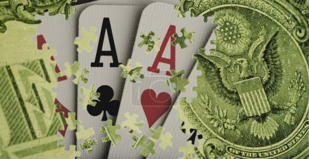 Composite Of A Us Dollar Bill And Playing Cards