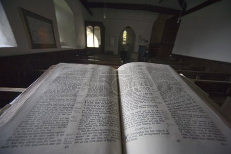 Old Bible In Church, North Yorkshire, England, Europe