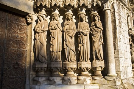Wise And Foolish Virgins, Sculpture At West Gateway, St. Fin Barre's Cathedral, Cork City, Ireland