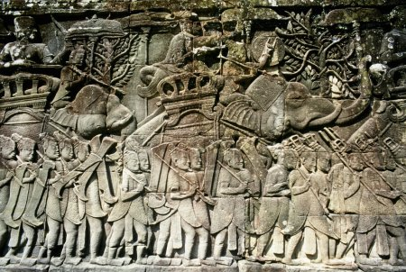 Detail Of Stone Carvings, The Bayon Temple, Angkor Thom, Cambodia