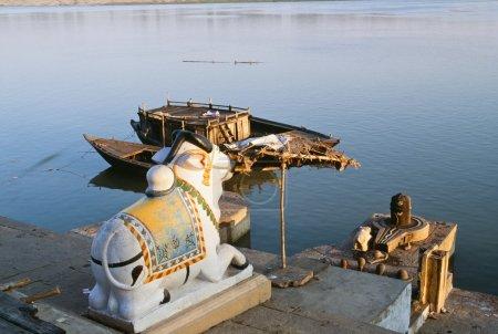 Hindu Shrine Of Nandi Along The Banks Of The Ganges River, Varanasi, India