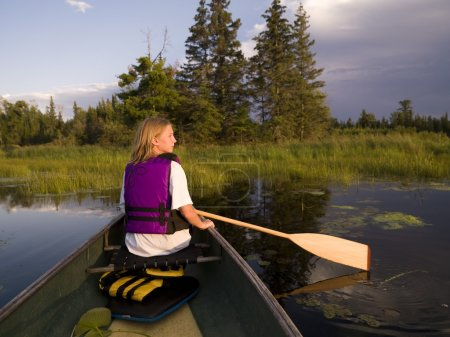 Photo for Girl Canoeing - Royalty Free Image