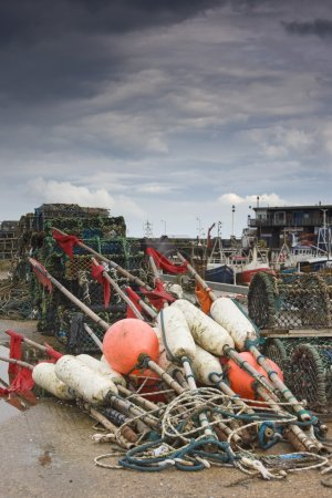 East Riding, Yorkshire, England. Fishing Floats And Lobster Pots On The Foreshore