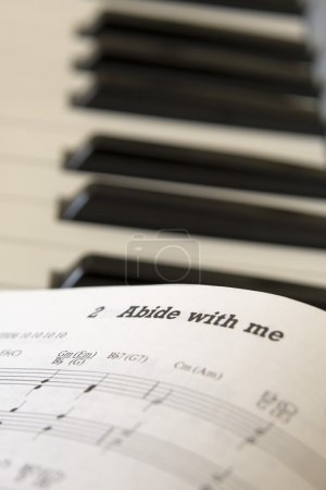 Book Of Music Open On Piano, Close Up