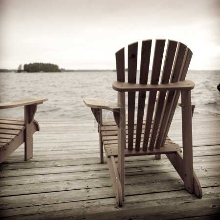 Adirondack Chairs On Deck, Muskoka, Ontario, Canada