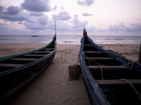 Boats On Shore, Arabian Sea, Kerala, India