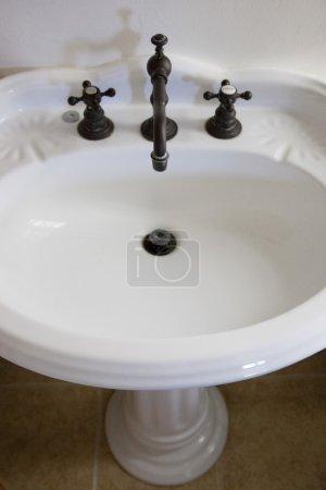 White Bathroom Pedestal Sink