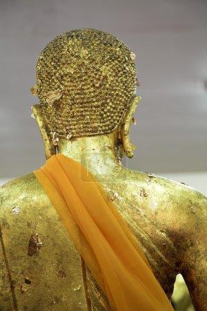 Golden Buddha Statue With Orange Sash