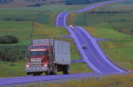Semi Truck On Highway On Overcast Day
