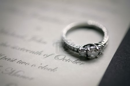 Engagement Ring On A Wedding Invitation