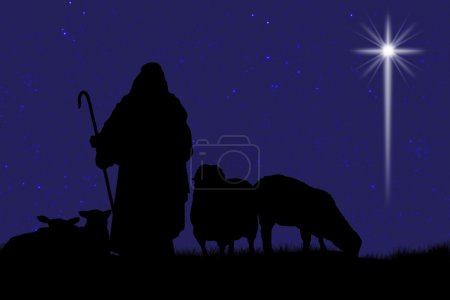Silhouette Of Shepherd And Sheep With A Bright Star In The Sky