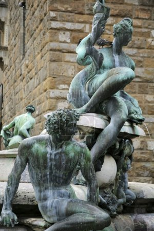 Bronze Satyrs Sea Nymphs On The Fountain Of Neptune