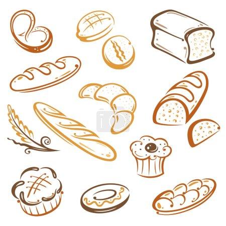 Illustration pour Ensemble vectoriel de pain et petit déjeuner - image libre de droit