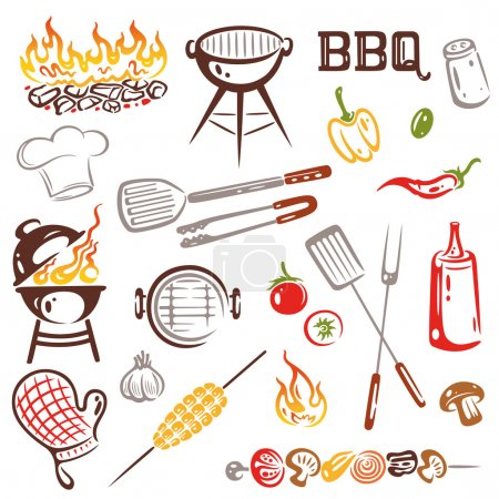 Colorful barbecue, grilling design elements.