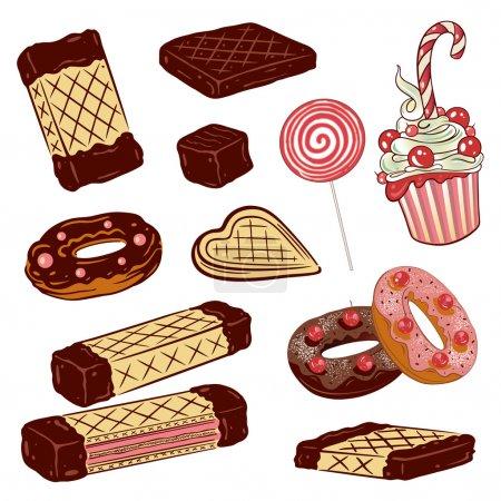 Illustration pour Bonbons colorés, gaufres, muffins, beignets et chocolat . - image libre de droit