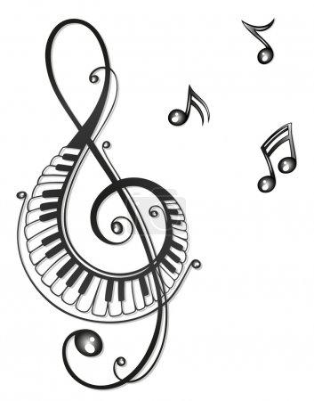Illustration pour Clef avec tribal de musique notes, noir - image libre de droit