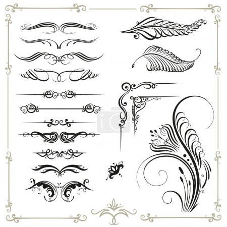 Illustration for Vector calligraphy set, vintage - Royalty Free Image
