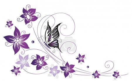 Illustration for Filigree colorful flowers, violet with butterfly - Royalty Free Image