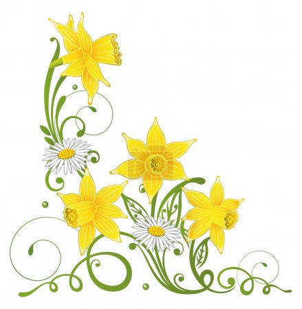 Daffodils, daisy, easter