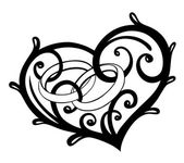 Heart with wedding rings vector design elements